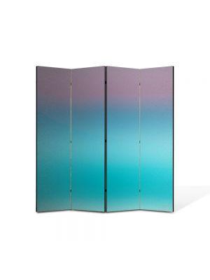 Paravan de Camera ArtDeco din 4 Panouri Abstract Decorativ Turcuaz 140 x 150 cm