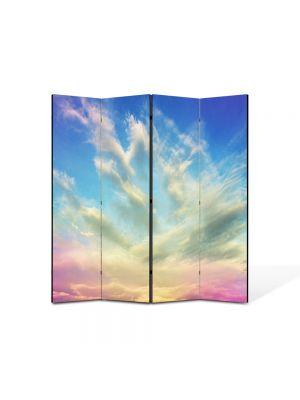 Paravan de Camera ArtDeco din 4 Panouri Abstract Decorativ Cerul 140 x 150 cm