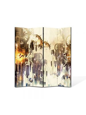 Paravan de Camera ArtDeco din 4 Panouri Abstract Decorativ Mecanic 140 x 150 cm