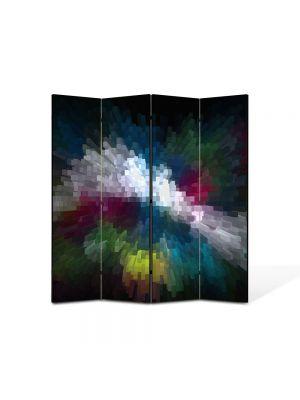 Paravan de Camera ArtDeco din 4 Panouri Abstract Decorativ Distorsionat 140 x 150 cm