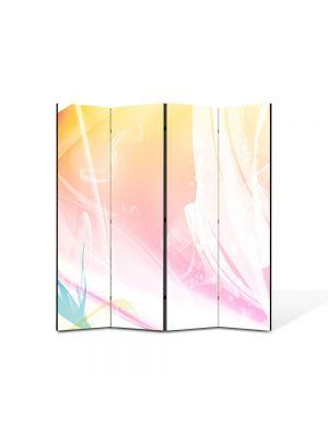 Paravan de Camera ArtDeco din 4 Panouri Abstract Decorativ Decolorat 140 x 150 cm