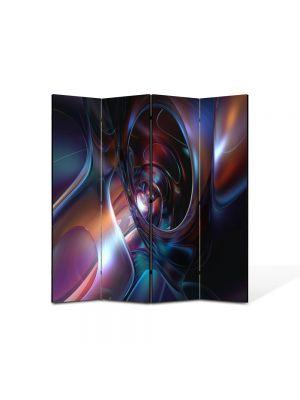 Paravan de Camera ArtDeco din 4 Panouri Abstract Decorativ Chimie 140 x 150 cm