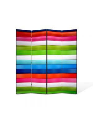 Paravan de Camera ArtDeco din 4 Panouri Abstract Decorativ Linii orizontale 140 x 150 cm