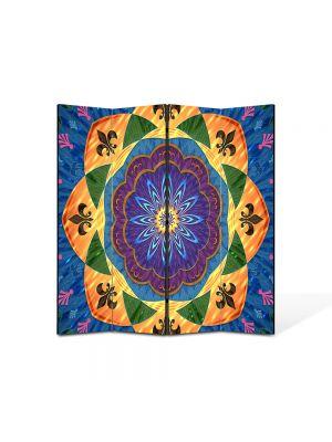 Paravan de Camera ArtDeco din 4 Panouri Abstract Decorativ Motiv tribal 140 x 150 cm