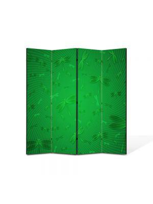 Paravan de Camera ArtDeco din 4 Panouri Abstract Decorativ Libelule verzi 140 x 150 cm