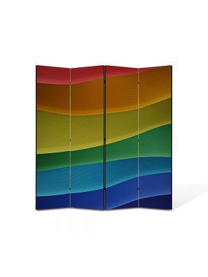 Paravan de Camera ArtDeco din 4 Panouri Abstract Decorativ Dealuri colorate 140 x 150 cm