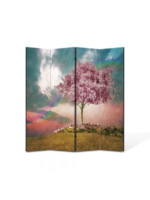 Paravan de Camera ArtDeco din 4 Panouri Abstract Decorativ Copac roz 140 x 150 cm