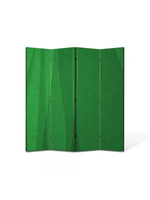 Paravan de Camera ArtDeco din 4 Panouri Abstract Decorativ Matase verde 140 x 150 cm