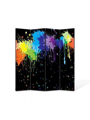 Paravan de Camera ArtDeco din 4 Panouri Abstract Decorativ Pete colorate 140 x 150 cm