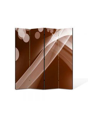 Paravan de Camera ArtDeco din 4 Panouri Abstract Decorativ Maroniu 140 x 150 cm
