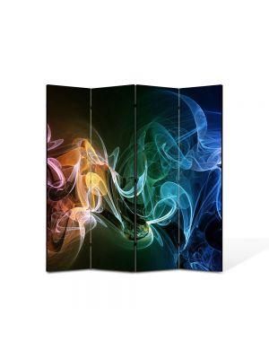 Paravan de Camera ArtDeco din 4 Panouri Abstract Decorativ Fum multicolor 140 x 150 cm