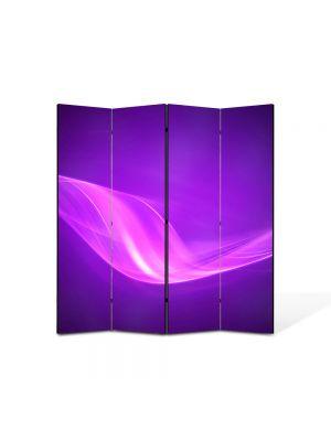 Paravan de Camera ArtDeco din 4 Panouri Abstract Decorativ Raze violet 140 x 150 cm