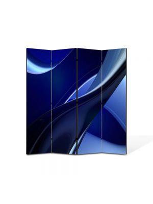 Paravan de Camera ArtDeco din 4 Panouri Abstract Decorativ Albastru 140 x 150 cm