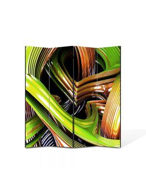 Paravan de Camera ArtDeco din 4 Panouri Abstract Decorativ Sticla colorata 140 x 150 cm