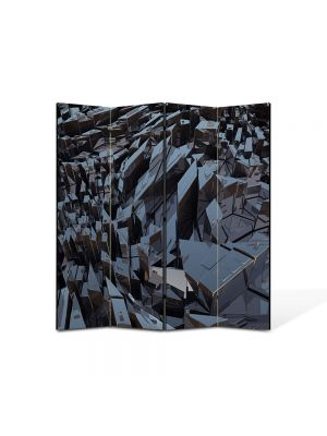 Paravan de Camera ArtDeco din 4 Panouri Abstract Decorativ Metal 140 x 150 cm
