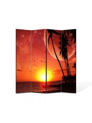 Paravan de Camera ArtDeco din 4 Panouri Abstract Decorativ Apus pe plaja 140 x 150 cm