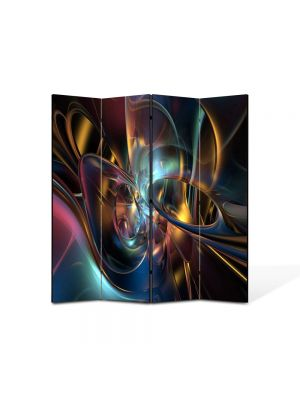 Paravan de Camera ArtDeco din 4 Panouri Abstract Decorativ Lumini si forme 140 x 150 cm