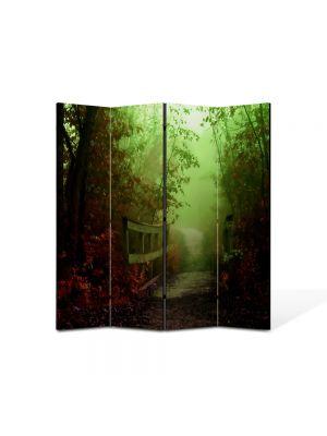 Paravan de Camera ArtDeco din 4 Panouri Peisaj Pod de lemn 105 x 150 cm