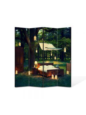 Paravan de Camera ArtDeco din 4 Panouri Peisaj Seara romantica in padure 105 x 150 cm