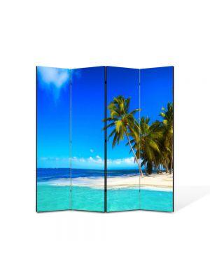 Paravan de Camera ArtDeco din 4 Panouri Peisaj La plaja 105 x 150 cm