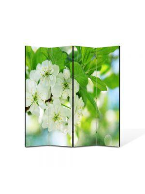 Paravan de Camera ArtDeco din 4 Panouri Peisaj Flori inflorite 105 x 150 cm