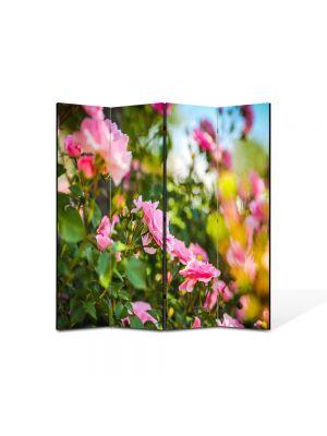 Paravan de Camera ArtDeco din 4 Panouri Peisaj Trandafiri roz 105 x 150 cm