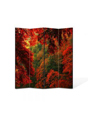Paravan de Camera ArtDeco din 4 Panouri Peisaj Rosu 105 x 150 cm