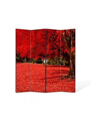 Paravan de Camera ArtDeco din 4 Panouri Peisaj Covor rosu sub copac 105 x 150 cm