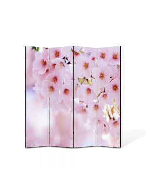 Paravan de Camera ArtDeco din 4 Panouri Peisaj Buchet de flori roz 105 x 150 cm