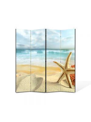 Paravan de Camera ArtDeco din 4 Panouri Peisaj Scoici pe plaja 105 x 150 cm
