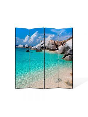 Paravan de Camera ArtDeco din 4 Panouri Peisaj Apa limpede 105 x 150 cm