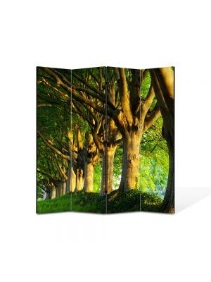 Paravan de Camera ArtDeco din 4 Panouri Peisaj Trunchiuri in linie 105 x 150 cm