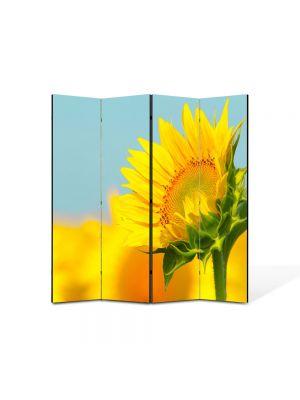 Paravan de Camera ArtDeco din 4 Panouri Peisaj Pui de floarea soarelui 105 x 150 cm
