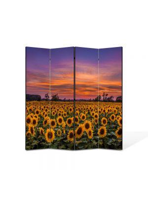 Paravan de Camera ArtDeco din 4 Panouri Peisaj Floarea soarelui la apus 105 x 150 cm