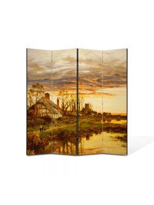 Paravan de Camera ArtDeco din 4 Panouri Peisaj Coliba 105 x 150 cm