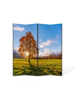 Paravan de Camera ArtDeco din 4 Panouri Peisaj Dupa copac 105 x 150 cm