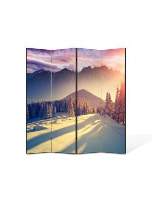 Paravan de Camera ArtDeco din 4 Panouri Peisaj La munte iarna 105 x 150 cm