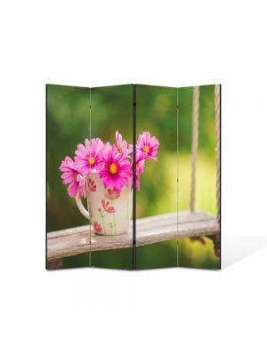 Paravan de Camera ArtDeco din 4 Panouri Peisaj Flori in leagan 105 x 150 cm