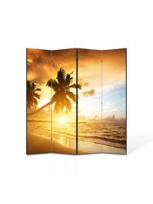 Paravan de Camera ArtDeco din 4 Panouri Peisaj Palmieri pe plaja 105 x 150 cm