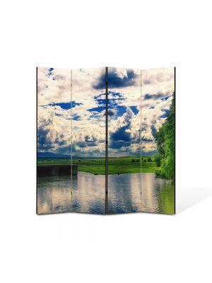 Paravan de Camera ArtDeco din 4 Panouri Peisaj Oglinda 105 x 150 cm