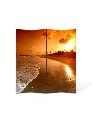 Paravan de Camera ArtDeco din 4 Panouri Peisaj Plaja la apus 105 x 150 cm