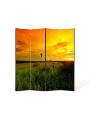 Paravan de Camera ArtDeco din 4 Panouri Peisaj Apus superb 105 x 150 cm
