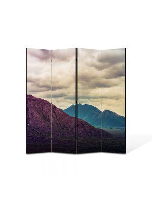 Paravan de Camera ArtDeco din 4 Panouri Peisaj Violet 105 x 150 cm