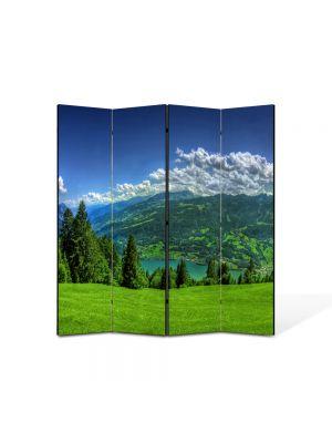 Paravan de Camera ArtDeco din 4 Panouri Peisaj Campie de munte 105 x 150 cm