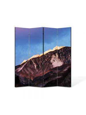 Paravan de Camera ArtDeco din 4 Panouri Peisaj Munti maro 105 x 150 cm