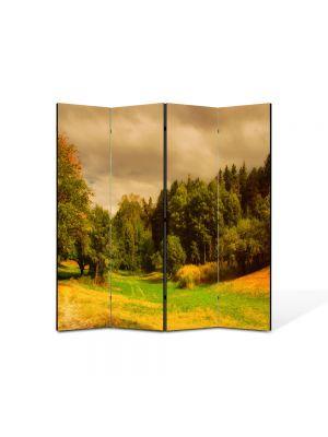 Paravan de Camera ArtDeco din 4 Panouri Peisaj Depresiune 105 x 150 cm