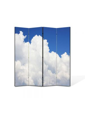 Paravan de Camera ArtDeco din 4 Panouri Peisaj Nori pufosi 105 x 150 cm