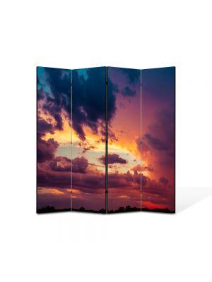 Paravan de Camera ArtDeco din 4 Panouri Peisajmul de nori 105 x 150 cm