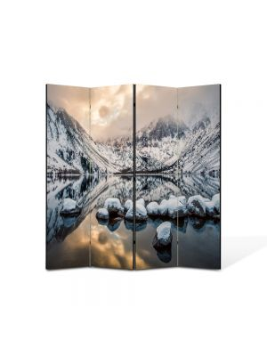 Paravan de Camera ArtDeco din 4 Panouri Peisaj Zapada si oglinda 105 x 150 cm