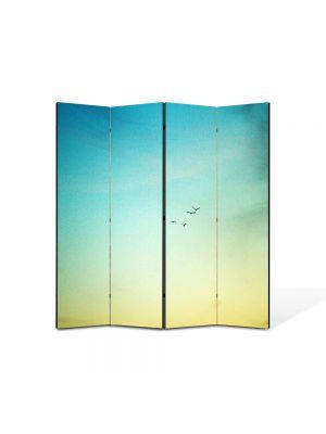Paravan de Camera ArtDeco din 4 Panouri Peisaj In zare 105 x 150 cm